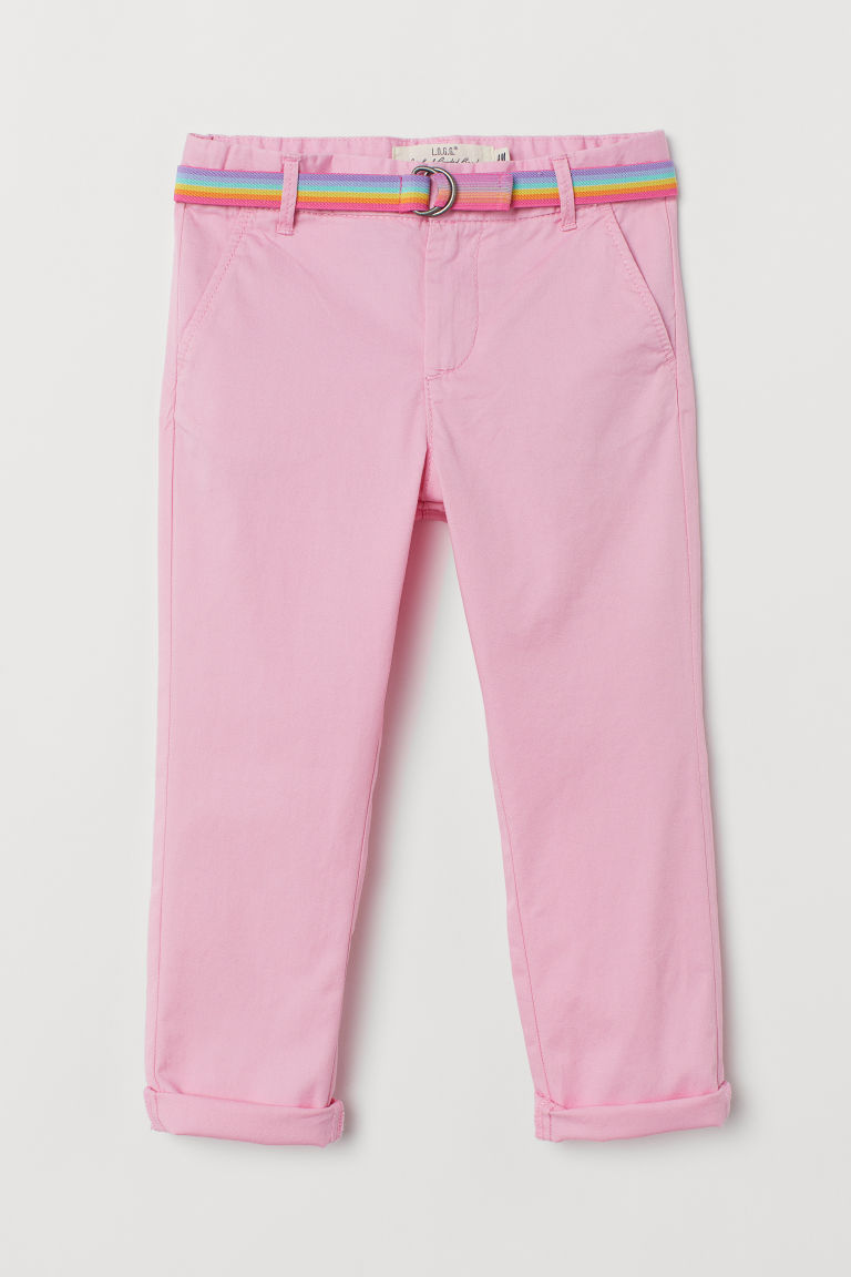 Chinos with a belt - Pink - Kids | H&M GB