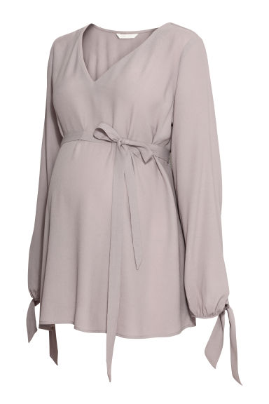 MAMA Blouse en crêpe - Taupe clair - FEMME | H&M BE