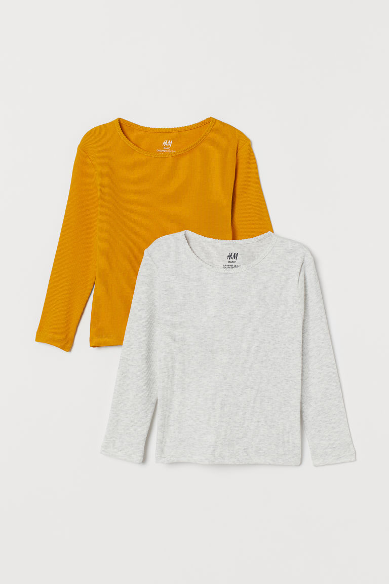 2-pack ribbed jersey tops - Jaune moutarde/gris clair - ENFANT | H&M CA
