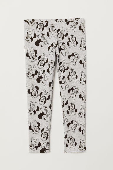 Patterned leggings - Light grey marl/Minnie Mouse - Kids | H&M CN