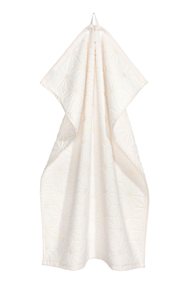 Jacquard-weave hand towel - White - Home All | H&M IE