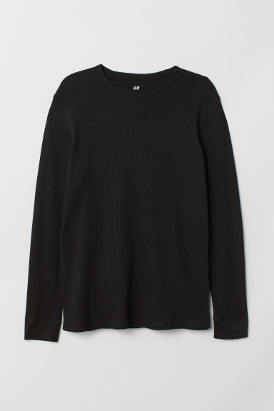 Waffled top - Black - Men | H&M