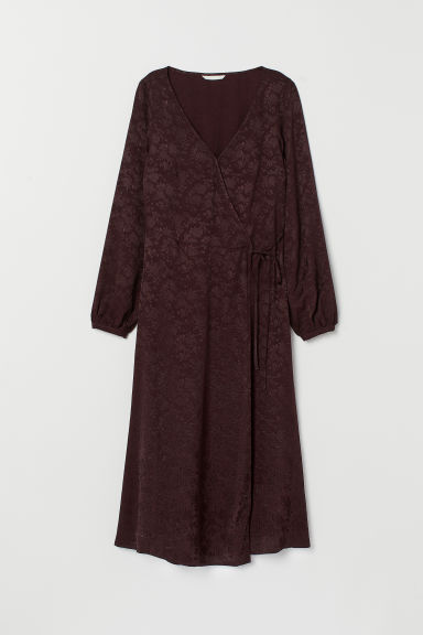 Jacquard-weave wrap dress - Plum - Ladies | H&M GB