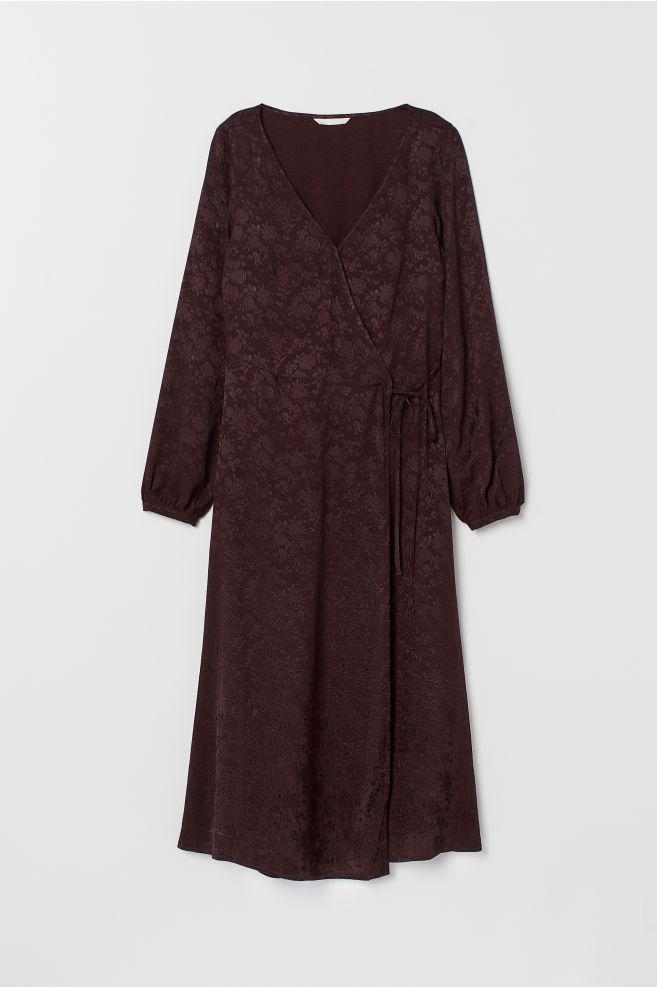 1a7f829e23 Kopertowa sukienka żakardowa - Śliwkowy - ONA