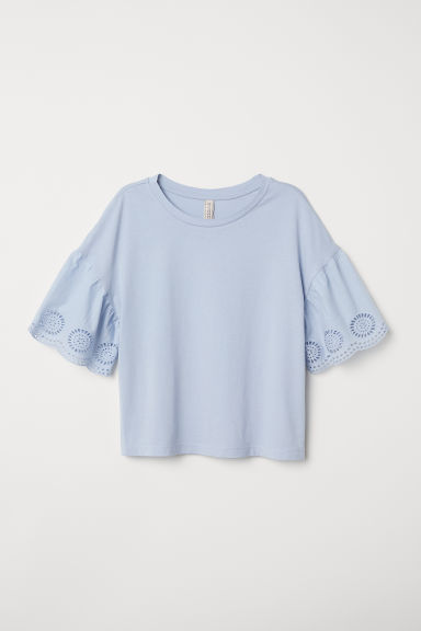 Top met broderie anglaise - Lichtblauw - DAMES | H&M BE