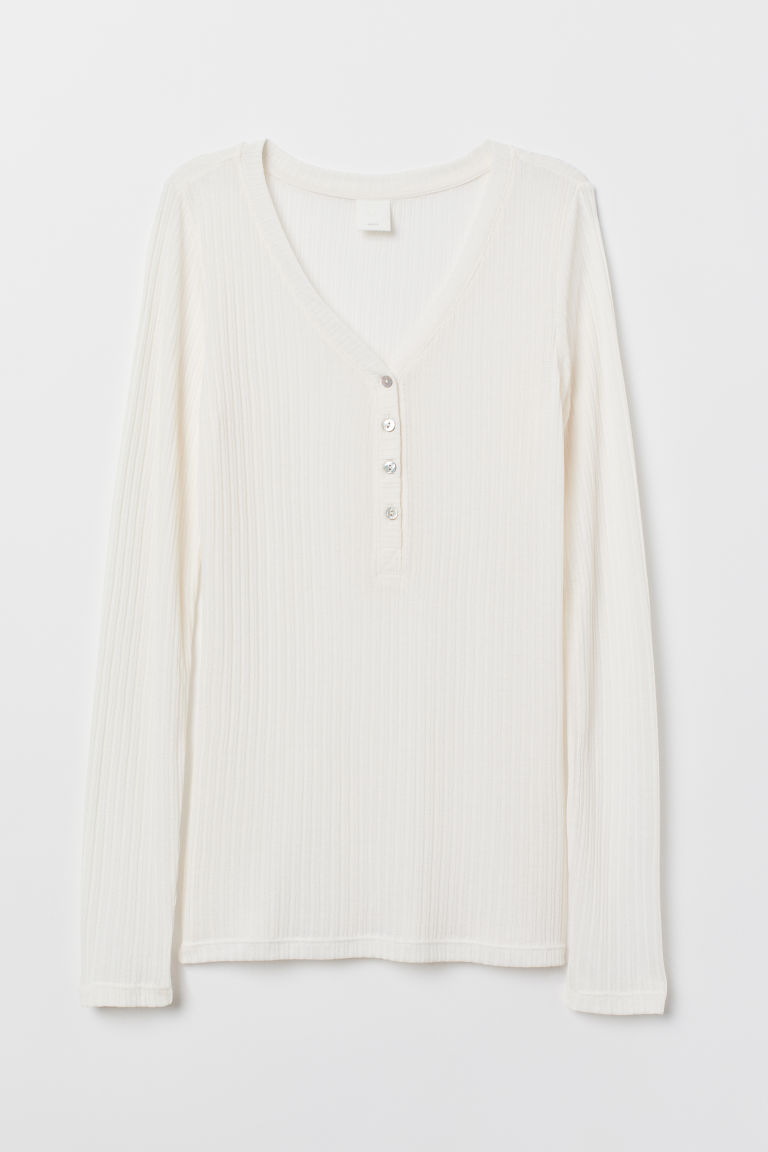 Pointelle top - White - Ladies | H&M CN
