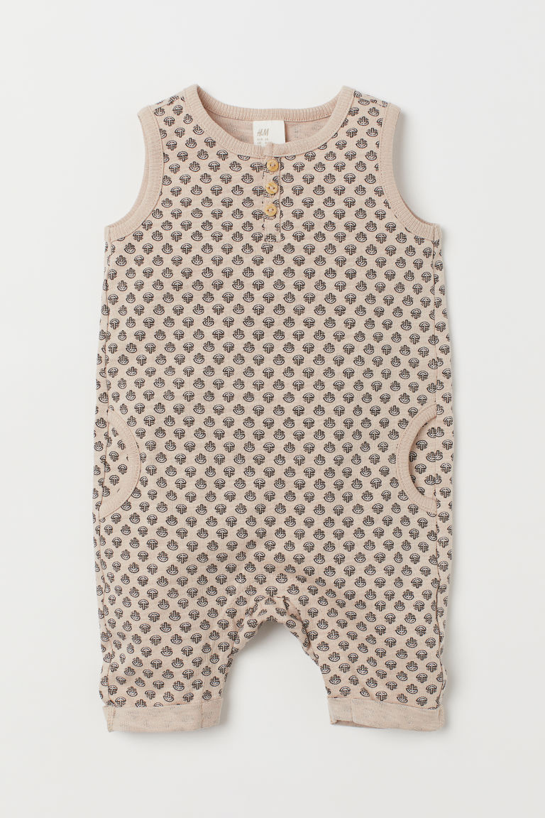 Sleeveless romper suit - Light beige/Patterned - Kids | H&M