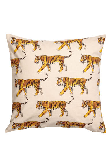 Slub-weave Cushion Cover - Natural white/tigers - Home All | H&M CA