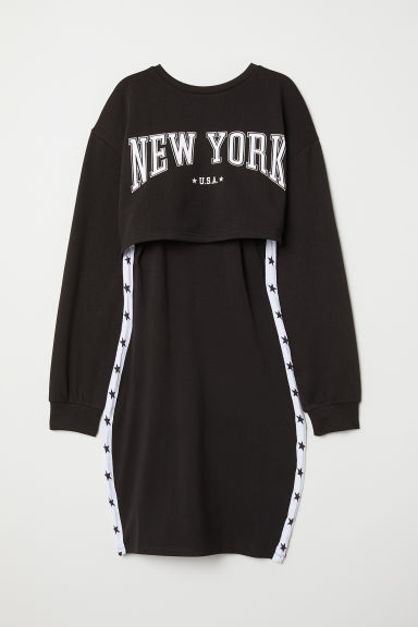 Jersey dress with a sweatshirt - Black/New York -  | H&M