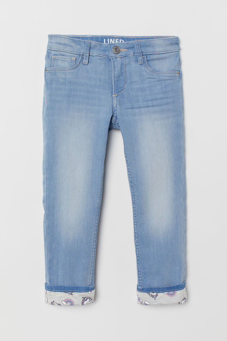 Skinny Fit Lined Jeans - 浅蓝色 - Kids | H&M CN