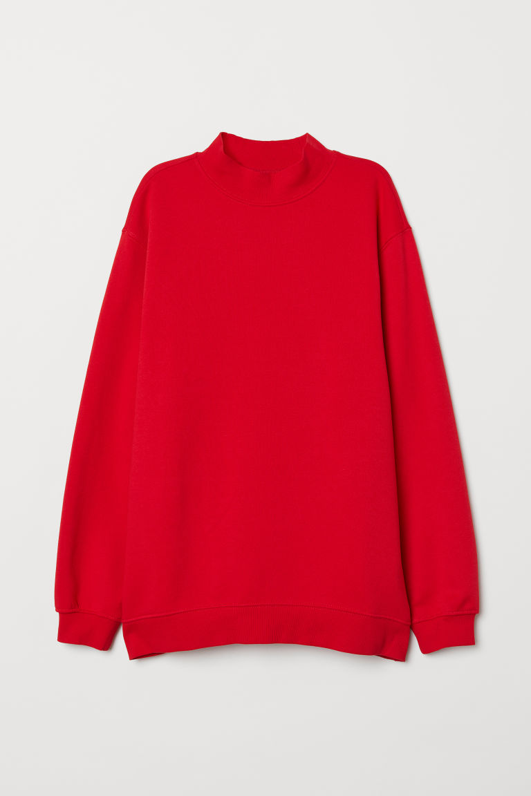 Mock-turtleneck Sweatshirt - Red -  | H&M CA