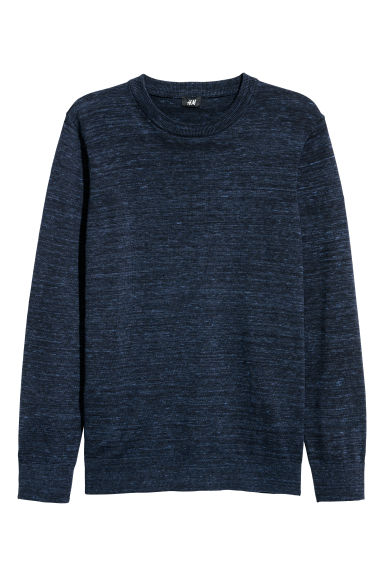 Fine-knit jumper - Dark blue marl -  | H&M CN
