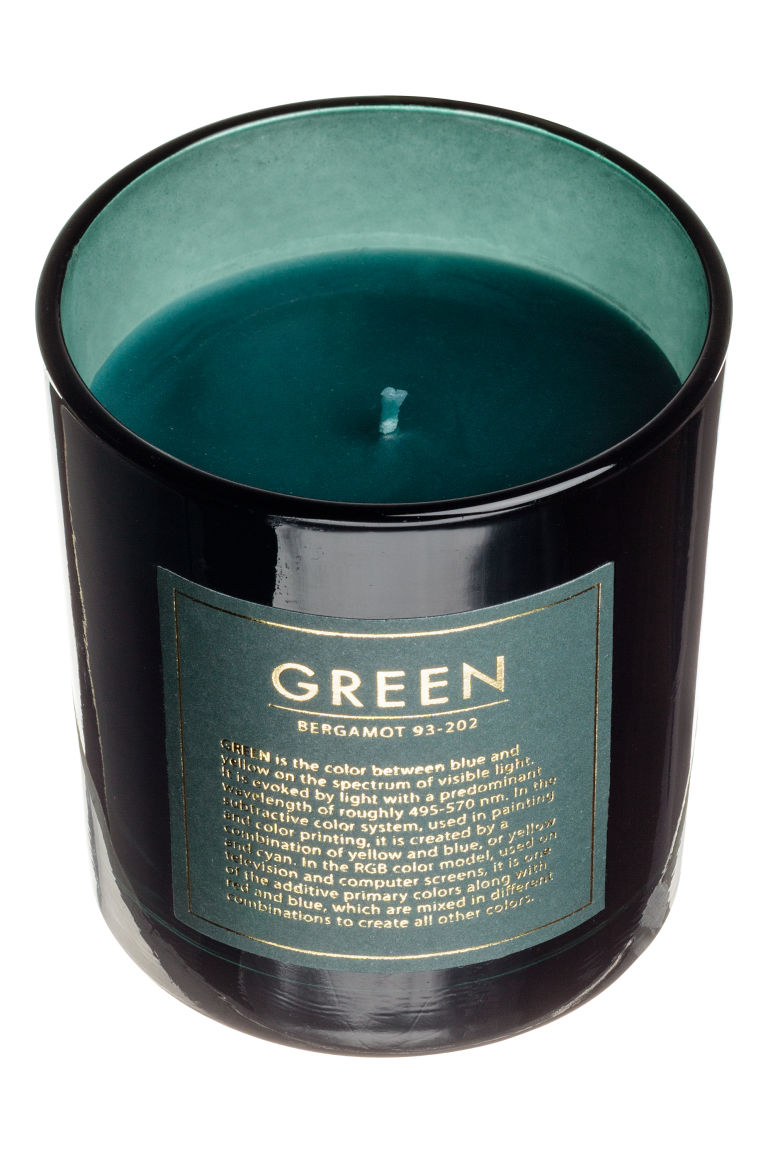 Scented candle in a glass jar - Green/Bergamot - Home All | H&M GB