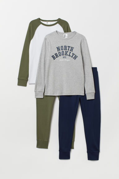 Pigiami in jersey, 2 pz - Azzurro mélange/North Brooklyn - BAMBINO | H&M IT