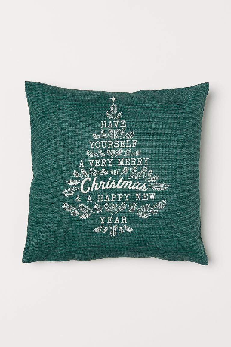 Patterned Cushion Cover - Dark green/Christmas tree - Home All | H&M US