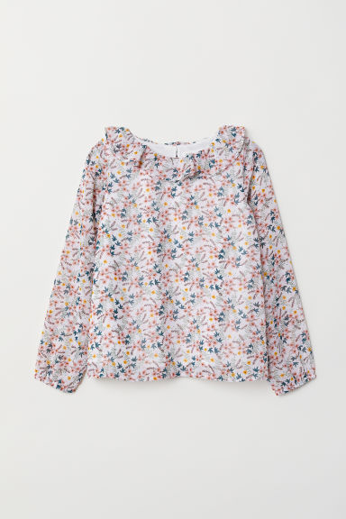 Blouse with a frilled collar - White/Floral - Kids | H&M CN