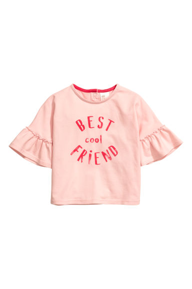 Top in jersey con volant - Rosa chiaro/Best friend -  | H&M CH