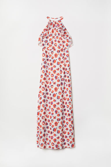 Long halterneck dress - White/Leopard print - Ladies | H&M