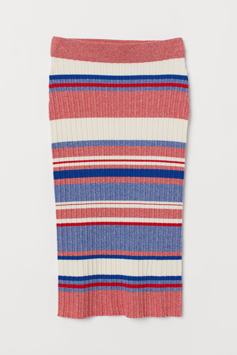 Ribbed skirt - Blue/Red striped - Ladies | H&M GB