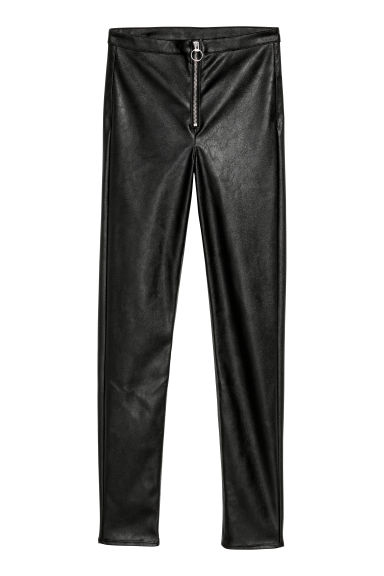 Imitation leather trousers - Black -  | H&M