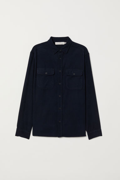 Corduroy shirt - Dark blue - Men | H&M
