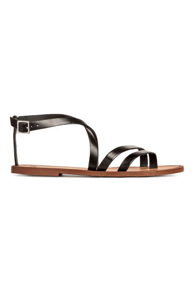 Strappy leather sandals - Black -  | H&M