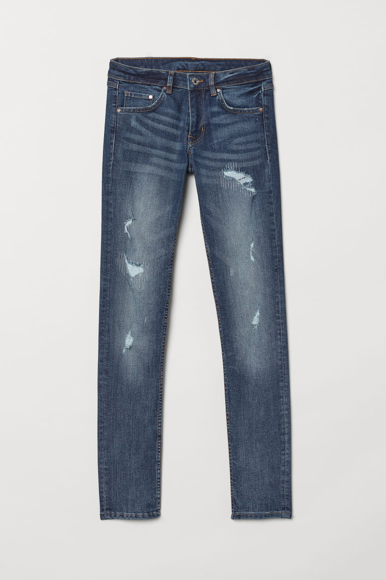 Skinny Low Jeans - Denimblauw/trashed - DAMES | H&M BE