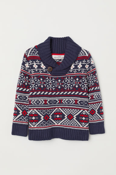 Knitted jumper - Dark blue/Patterned - Kids | H&M