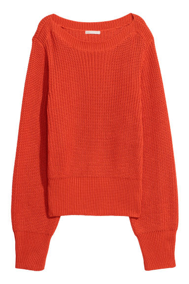 Ribbed jumper - Orange -  | H&M