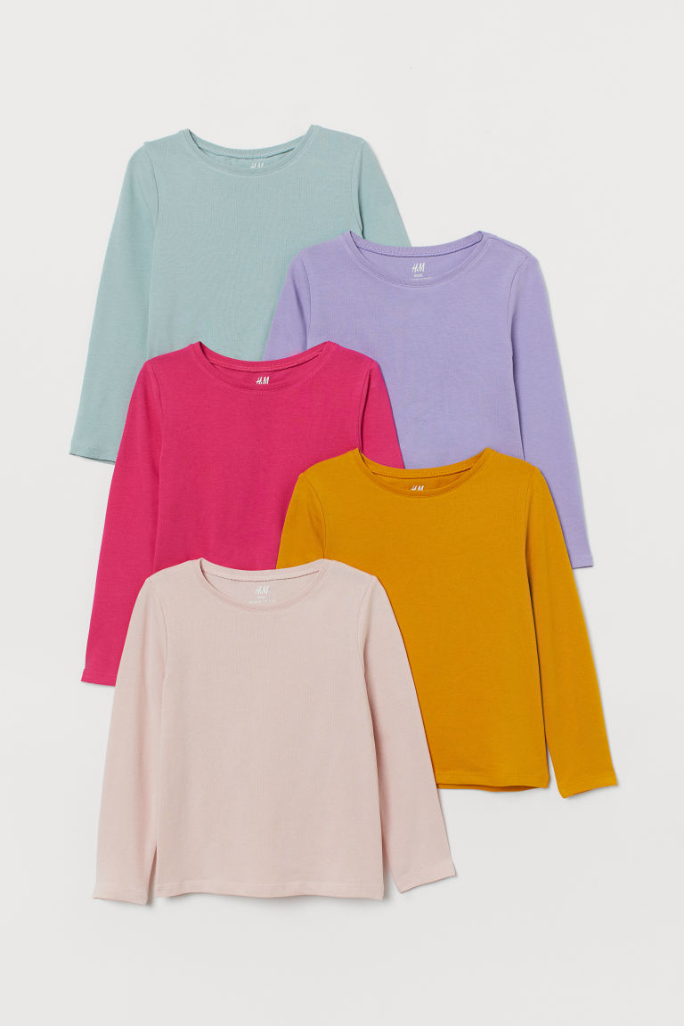 5-pack jersey tops - Pink/Yellow/Purple/Turquoise - Kids | H&M IE