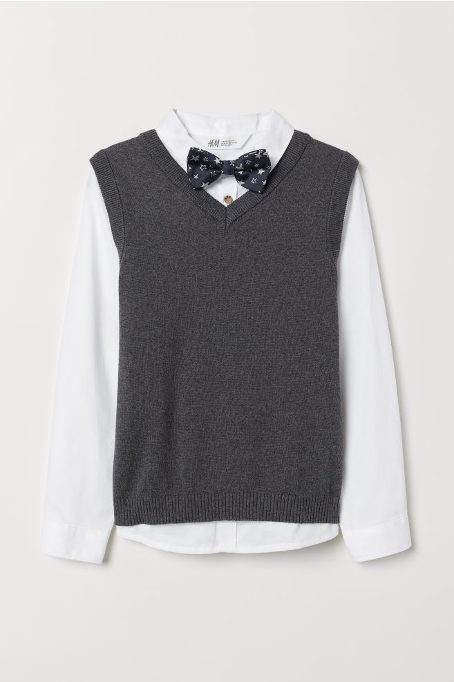 52e4eebc0f11 Shirt and Sweater Vest - Dark gray/white - Kids | H&M ...
