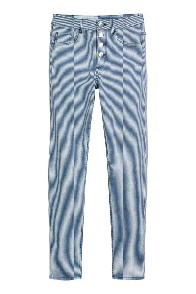 Skinny High Ankle Jeans - Blue/White striped -  | H&M
