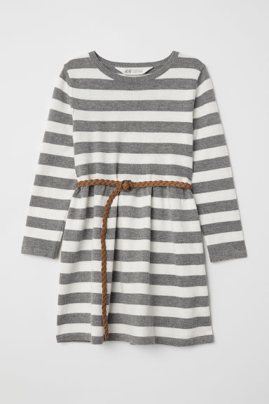Fine-knit dress - Grey marl/White - Kids | H&M