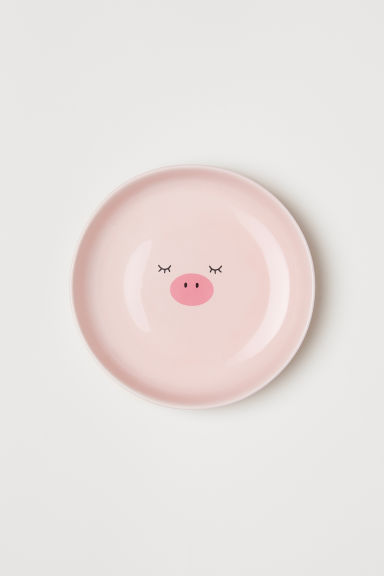 Deep porcelain plate - Pink/Pig - Home All | H&M CN