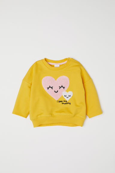 Sweatshirt - Yellow/Hearts - Kids | H&M CN