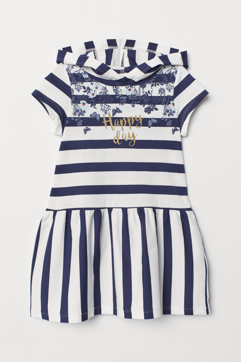 Jersey dress with a hood - Dark blue/Happy Day - Kids | H&M CN