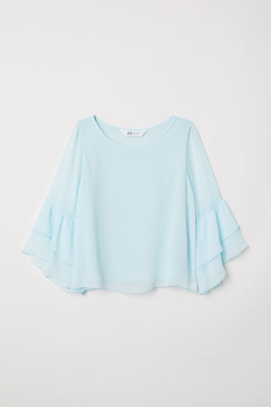 Chiffon blouse with flounces - Light turquoise - Kids | H&M CN