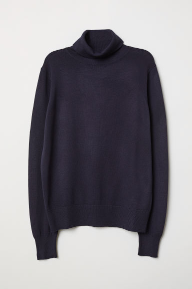 Fine-knit Turtleneck Sweater - Dark blue - Ladies | H&M US