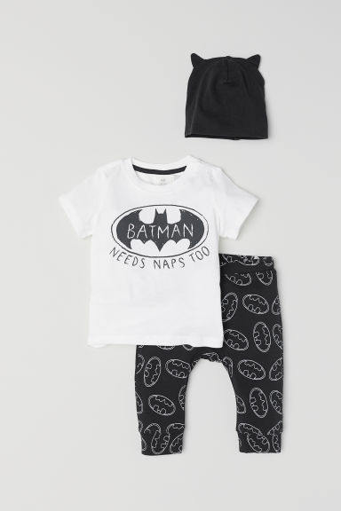 Printed jersey set - White/Batman - Kids | H&M