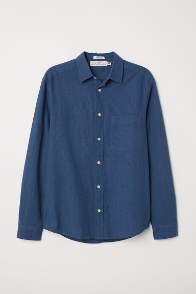 Linen-blend shirt Regular fit - Dark blue - Men | H&M CN