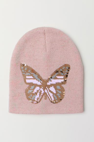 Hat with reversible sequins - Powder pink/Butterfly - Kids | H&M