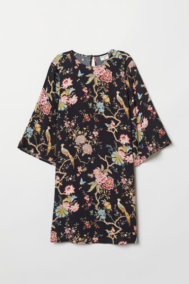 Patterned dress - Black/Floral - Ladies | H&M