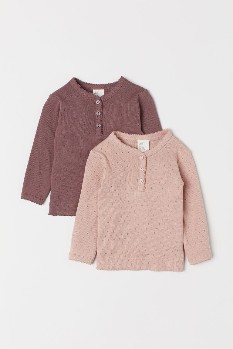 2-pack pointelle tops - Dark heather purple/Lt. beige - Kids | H&M CN