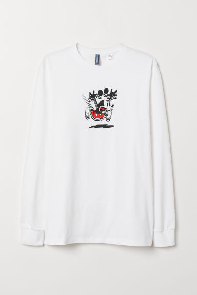 Long-sleeved jersey top - White/Mickey Mouse - Men | H&M CN