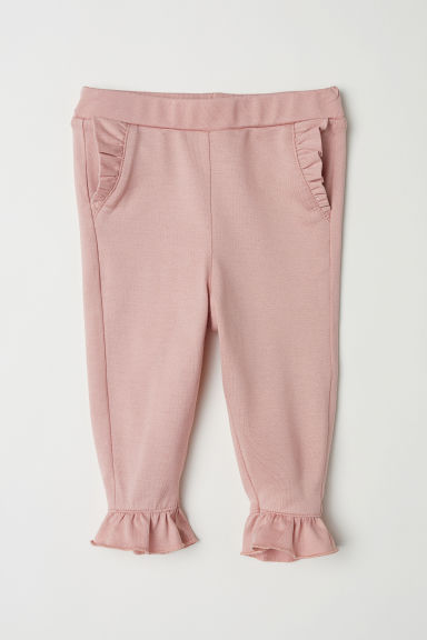 Frilled jersey leggings - Powder pink - Kids | H&M CN
