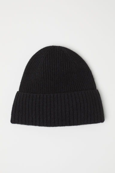 Ribbed cashmere hat - Black - Men | H&M