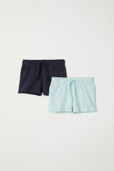 2-pack jersey shorts - Mint green/Dark blue - Kids | H&M CN
