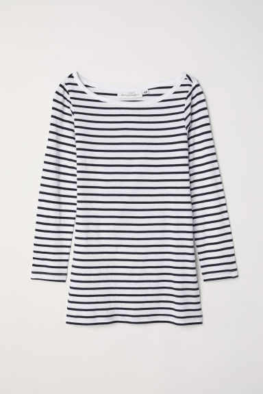Jersey top - White/Dark blue striped - Ladies | H&M