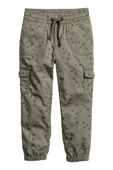 Pull-on trousers - Khaki green/Butterflies -  | H&M CN