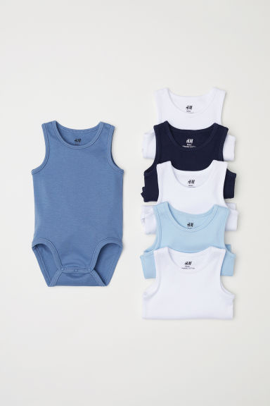 6-pack sleeveless bodysuits - Light blue - Kids | H&M